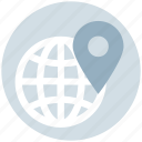 earth, global, international, navigation, pin, world, world globe icon