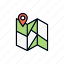 map, navigation, pin, road, route, sign, travel icon