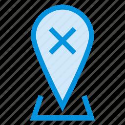 close, cross, delete, map, pin, pointer, remove icon