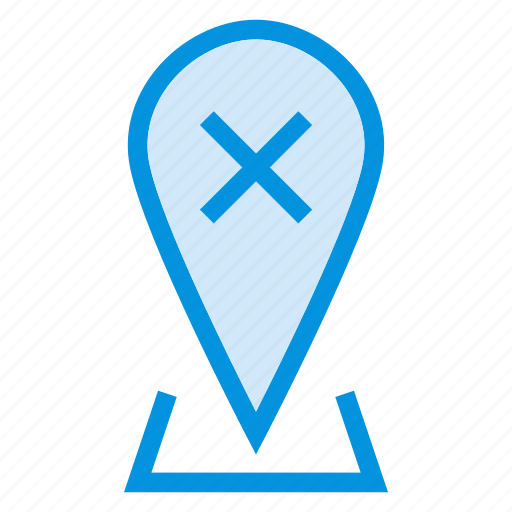 close, cross, delete, map, pin, pointer, remove icon