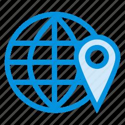 browsing, global, gps, internet, location, pin, world icon