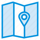 direction, gps, location, map, navigation, paper, travel icon
