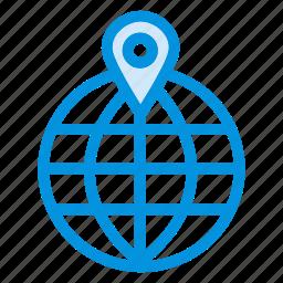 communication, gps, location, map, navigation, pin, world icon