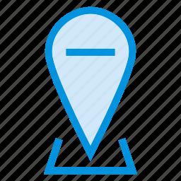 delete, gps, location, minus, navigation, pins, remove icon