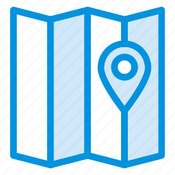 gps, map, mylocation, navigate, navigation, paper, pointer icon
