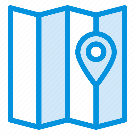 gps, map, mylocation, navigate, navigation, paper, pointer icon