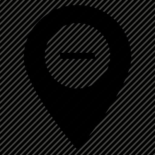 delete, gps, map, minus, navigation, pin, remove icon