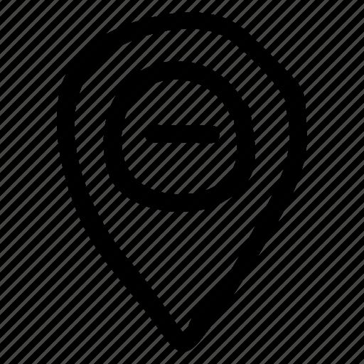 area, gps, location, map, minus, navigation, pin icon