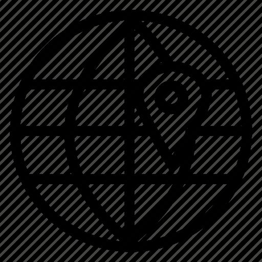 global, gps, internet, location, navigation, pin, planet icon