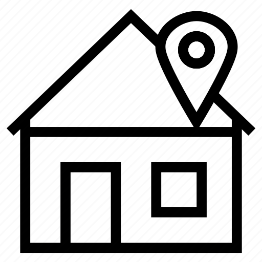 building, gps, home, house, location, navigation, tracing icon