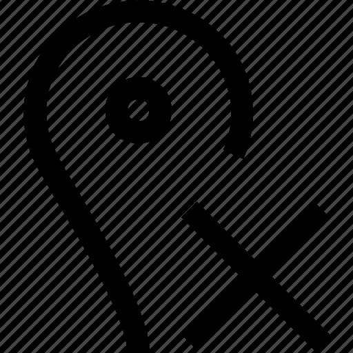 cancel, cross, gps, location, map, no, pin icon
