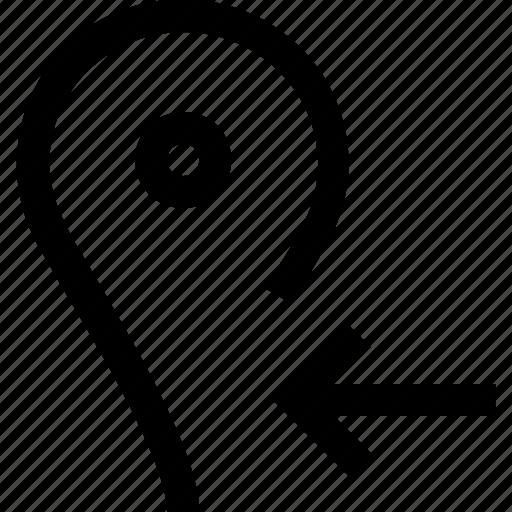 arrow, gps, left, location, map, pin icon