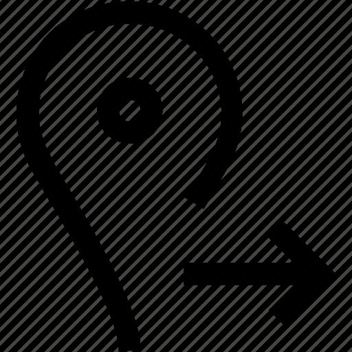 arrow, gps, location, map, pin, right icon