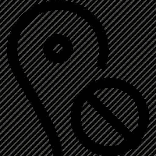 cross, forbidden, gps, location, map, no, pin icon