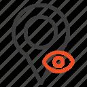 eye, location, map, pointer