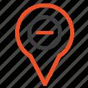 location, map, minus, navigation, pin