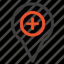 location, map, navigation, pin, plus icon