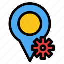 location, map, settings icon