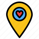 heart, location, map, pointer