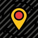 arrow, location, map, marker, pin