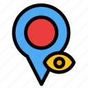 eye, location, map, pointer icon