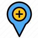 location, map, navigation, pin, plus
