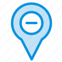 location, map, minus, navigation, pin icon