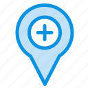 location, map, navigation, pin, plus icon