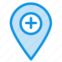 location, map, marker, pin, plus icon