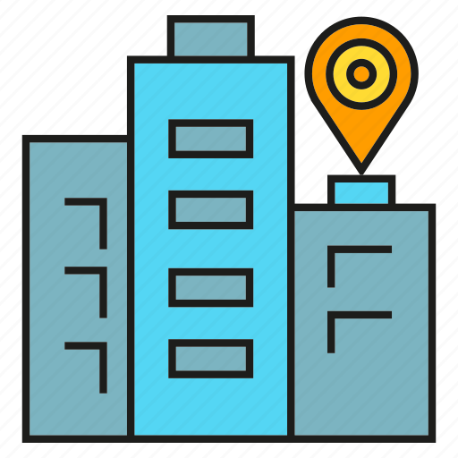 building, gps, location, map, pin, tower, tracking icon