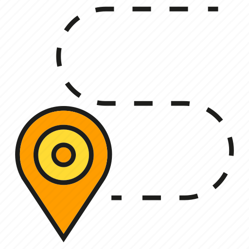 destination, gps, map, navigation, pin, route, tracking icon