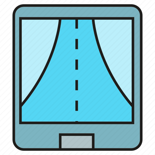 Mobile, gadget, street, navigation, route, road, gps icon