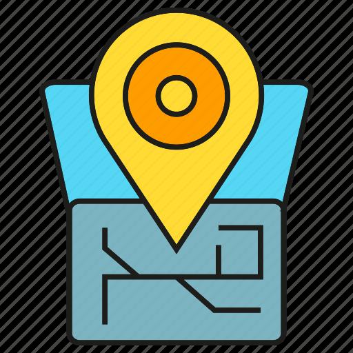 Map, tracking, pin, destination, location, navigation, gps icon