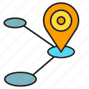 gps, location, map, navigation, pin, route, tracking icon