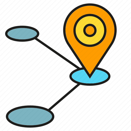 Map, tracking, pin, route, location, navigation, gps icon
