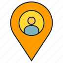 gps, location, map, navigation, people, pin, tracking icon