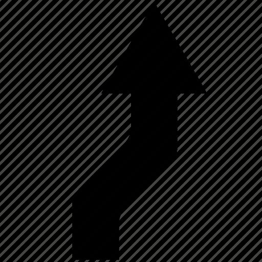 arrow, change, direction, lane, navigation icon