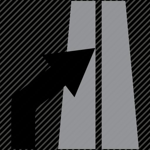 arrow, enter, highway, lane, left icon