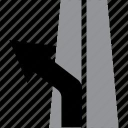 arrow, direction, exit, highway, lane, left icon