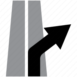 arrow, direction, exit, highway, lane, right icon