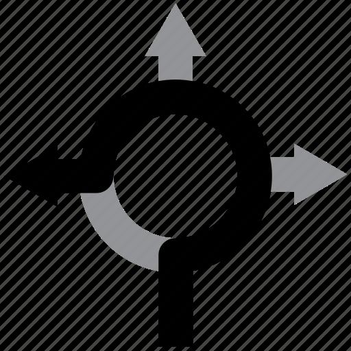 arrow, direction, exit, navigation, roundabout icon