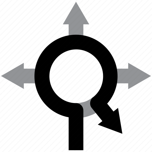 arrow, direction, exit, navigation, roundabout icon