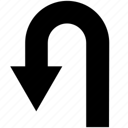 arrow, direction, left, turn, u-turn icon