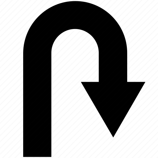 arrow, direction, right, turn, u-turn icon
