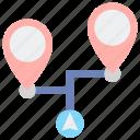destinations, map, multiple, navigation icon