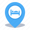 accommodation, gps, hotel, location, map pin, pin icon