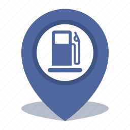 gas station, gps, location, map pin, pin icon
