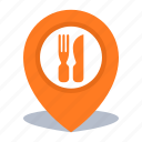 gps, location, map pin, pin, restaurant icon