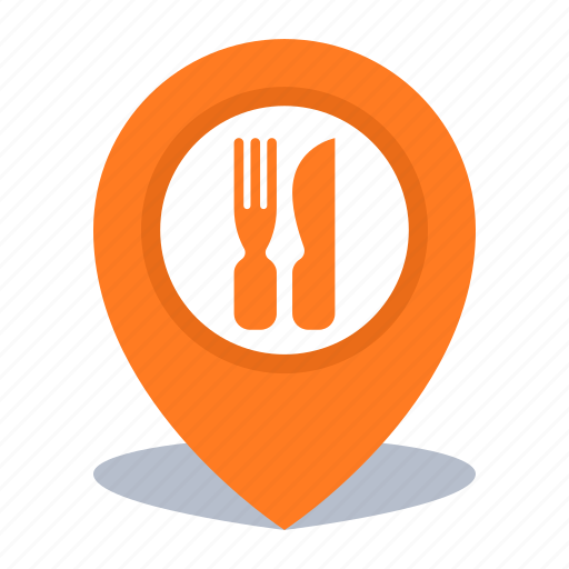 gps, location, map pin, pin, restaurant icon