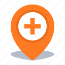 add, gps, hospital, location, map pin icon